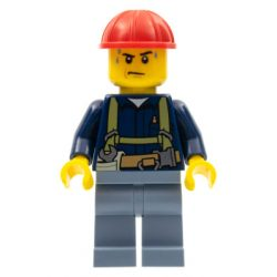 Lego figura City Construction Worker - Shirt with Harness and Wrench, Sand Blue Legs, Red Construction Helmet, Sweat Drops
