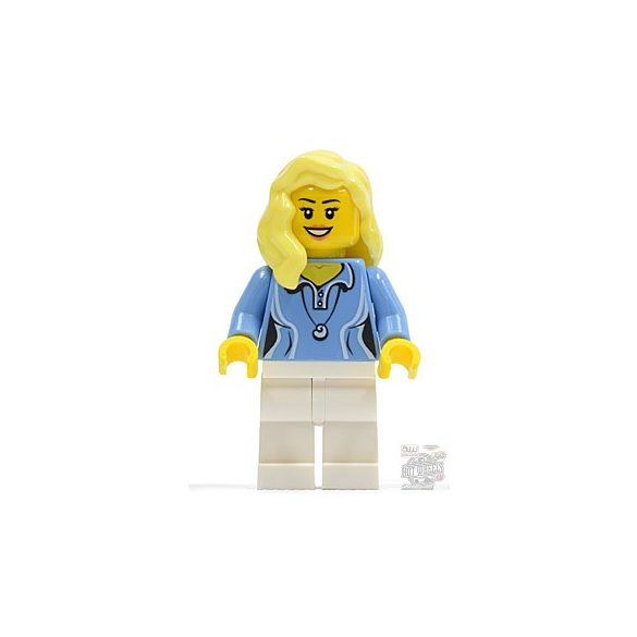 Lego figura City - Medium Blue Female Shirt with Two Buttons and Shell Pendant, White Legs, Bright Light Yellow Female Hair over Shoulder