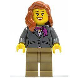 Lego figura City - Dark Bluish Gray Jacket with Magenta Scarf, Dark Tan Legs, Dark Orange Female Hair over Shoulder