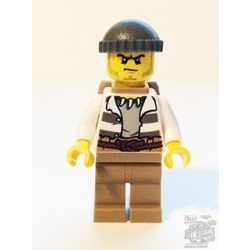 Lego figura City - Swamp Police - Crook Male with Dark Bluish Gray Knit Cap and Backpack