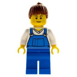 Lego figura City - Farm Hand, Female, Overalls Blue over V-Neck Shirt, Thin Smile