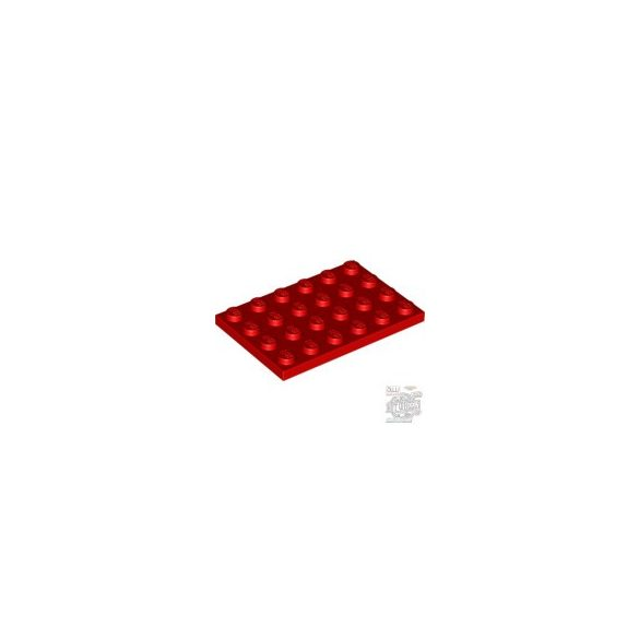 Lego Plate 4X6, Bright red