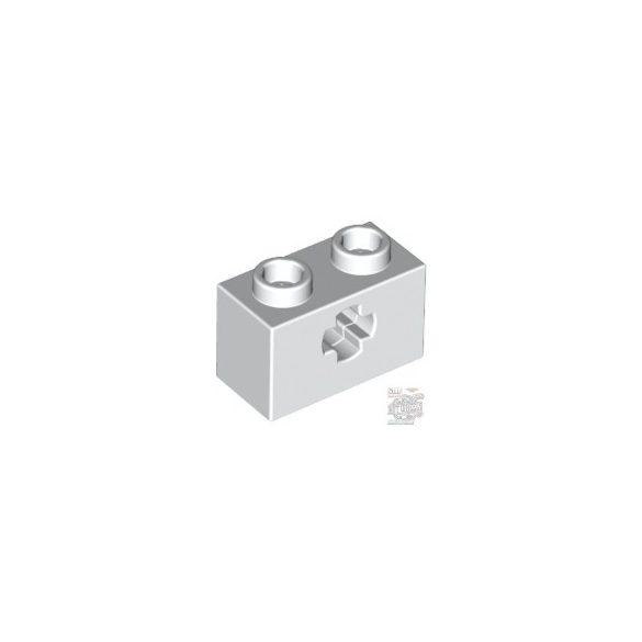 Lego Brick 1x2 With Cross Hole, White