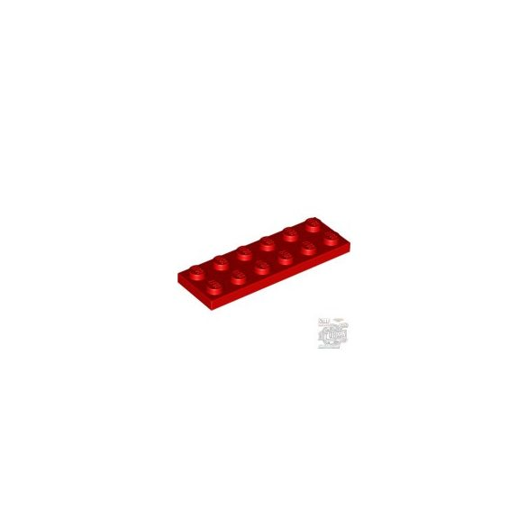 Lego Plate 2X6, Bright red