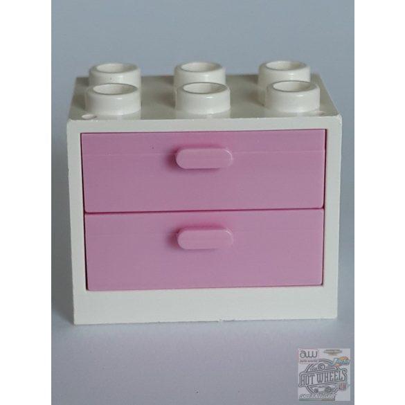 Lego Box / Cupboard 2X3X2, White-Rose