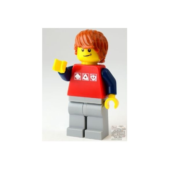 Lego figura City - Red Shirt with 3 Silver Logos