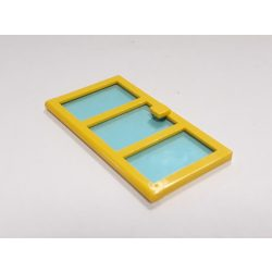 Lego Door 1 x 4 x 6 with 3 Panes with Trans-Light Blue Glass, Yellow